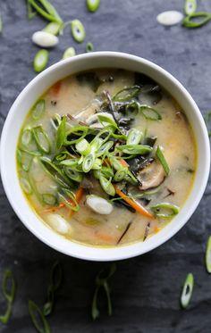 Vegan Miso Soup ; healthy ; asian ; japanese ; wakame seaweed ; arame ; nori ; miso ; ginger ; carrot ; shiitake mushroom ; celery