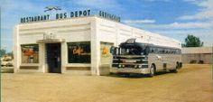 "Greyhound ""Silversides"" bus at the Tip Top café"