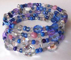 New jewelry - unique, handmade bead memory wire bracelet! Crystal Pastel Memory Wire Bracelet by VineDesignBeads on Etsy, $16.00