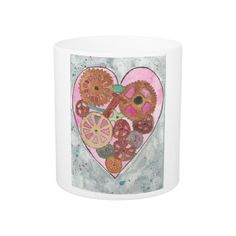 Pink Clockwork Heart 11  or 15 oz Classic Mug  From an original Watercolor Painting Gothic Steampunk Horror Halloween Morbid by MBrothertonArt on Etsy