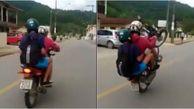 تک چرخ زدن یک موتور سوار در خیابان حادثه آفرین شد   فیلم و عکس