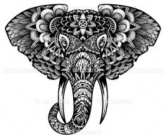 Tribal Elephant Head Tattoo Design in Black Ink ❥❥❥ https://tattoosk.com/elephant-head-tattoo