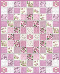 Passionately Pink~Shabby Chic Style~Pre Cut Quilt Kit~Pink Roses~Floral~Paisley~Fabric~QK ~Passionately Pink Precut Quilt Kit~ Shabby Chic Style at it's best! And coordinating pink tonals. Your kit includes: All squares Shabby Chic Pink, Shabby Chic Style, Shabby Chic Tapete, Shabby Chic Quilts, Estilo Shabby Chic, Shabby Chic Quilt Patterns, Shabby Vintage, Quilt Baby, Baby Girl Quilts