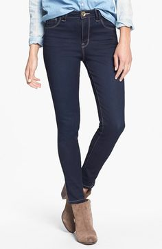 Jolt High Waist Skinny Jeans (Dark) (Juniors) available at #Nordstrom