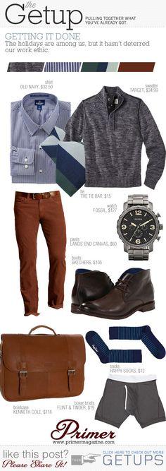 #combinación #azul #marron #rojo #gris #camisa a rayas #fashion #outfit #men #hombre www.mancave.com.ar