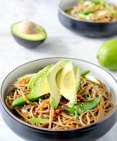 Sesame-Peanut Soba Noodle Salad with Avocado