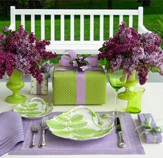 lilac, lavender, plum & apple green