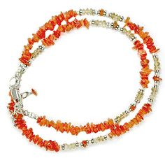 """This richly colored 18"""" necklace has some amazing stones! You will find Carnelian, and Citrine separated by sterling silver beads. Lobster claw clasp and 2"""" extension."""