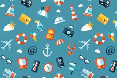 Flat Design Travel Icons Pattern by Decorwith.me Shop on Creative Market