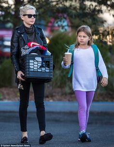 A big day: Michelle Williams walked her daughter Matilda Ledger to school in Brooklyn on T...