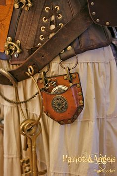 Steampunk Real Leather Watch/compass Corset by Harlotsandangels, $32.50