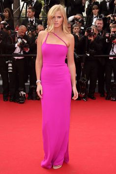 Cannes Fashion - Red Carpet Dresses at Cannes 2014 - Harper's BAZAAR Lara Stone in Calvin Klein