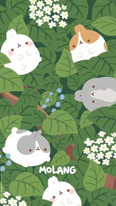 Food Wallpaper, Kawaii Wallpaper, Wallpaper Backgrounds, Funny Animals, Cute Animals, Molang, Cute Wallpapers, Phone Wallpapers, Love Drawings