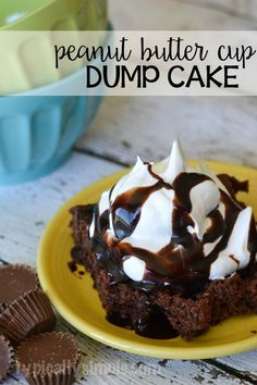 This peanut butter cup dump cake recipe requires only four ingredients which makes it perfect for a last minute dessert!
