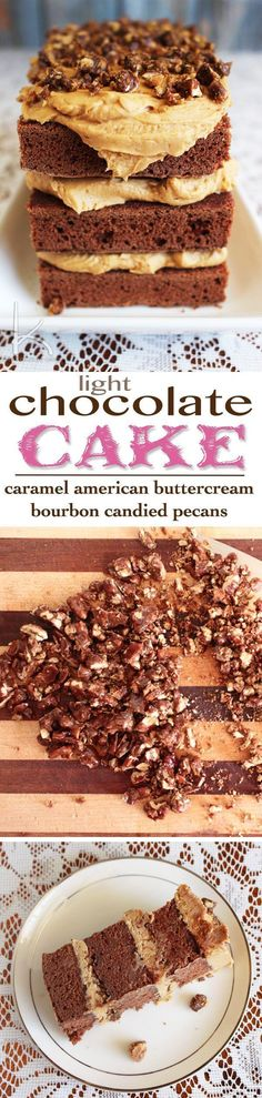My recipe and step-by-step directions for this Southern take on Chocolate Cake as seen on Duff Till Dawn on Food Network. A light chocolate cake, salted caramel American buttercream, and bourbon candied pecans. Get fancy with your chocolate cake, y'all! Trifle Desserts, Great Desserts, Party Desserts, Delicious Desserts, Yummy Treats, Sweet Treats, Hot Fudge Cake, Hot Chocolate Fudge, Chocolate Ganache