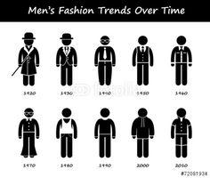 Vektor: Man Fashion Trend Timeline Clothing Evolution