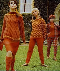 Orange knits.  Seventeen, August 1966.  Model Colleen Corby on the left.