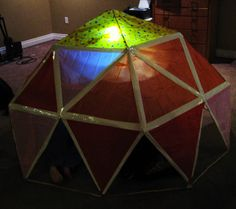 Almost Unschoolers: Building a Craft Stick and Tissue Paper, Geodesic Dome - Reading Cave