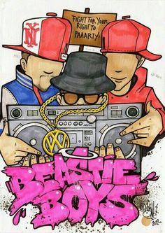 by: RosyOne - Funk Stars - HipHop Series (Beastie Boys) Dope Cartoons, Dope Cartoon Art, Arte Hip Hop, Hip Hop Art, Graffiti Drawing, Street Art Graffiti, Graffiti Lettering Fonts, Graffiti Designs, Graffiti Characters