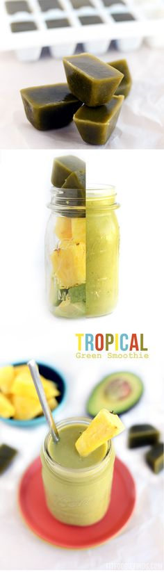 Tropical Green Smoothie- Freeze your NAKED Juice (client) and use in place of ice cubes! via FitFoodieFinds.com
