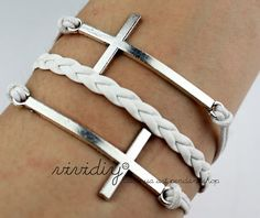 Silver Cross bracelet-White wax cord woven rope Handmade jewelry-Personalized bangle gift-God's blessed