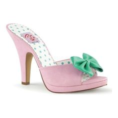 889c77cbfc Women s Pin Up Couture Siren 03 Slide - Baby Pink Teal Faux Leather Sandals