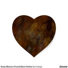 Rusty Abstract Fractal Heart Sticker