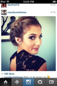 Junior prom makeup done by my sister Emma. LOVE this look Dance Hairstyles, Elegant Hairstyles, Prom Updo, Prom Hair, Dress Makeup, Hair Makeup, Short Hair Cuts, Short Hair Styles, Prom Make Up