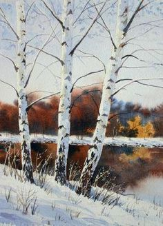 new Ideas for birch tree drawing snow Painting Snow, Winter Painting, Painting & Drawing, Watercolor Trees, Watercolor Landscape, Watercolor Paintings, Watercolors, Cherry Tree Tattoos, Pine Tree Tattoo