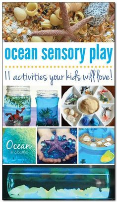 11 ocean sensory play activities your preschoolers will love! From sensory bottles to sensory bins and more! || Gift of Curiosity