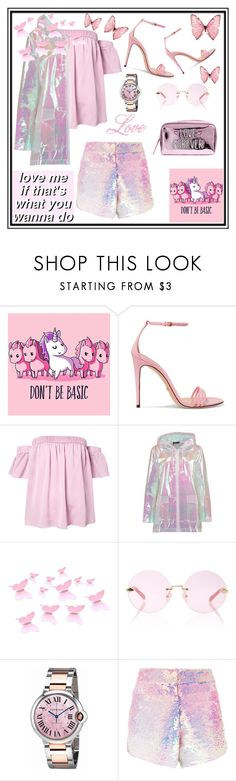 """PINK!"" by montenegrinaa ❤ liked on Polyvore featuring Gucci, Milly, Boohoo, Karen Walker, Cartier and Manish Arora"