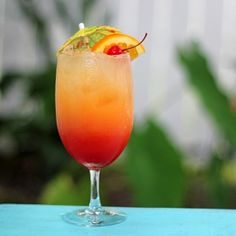 Malibu Summer Rose Cocktail. A fruity cocktail perfect for summer prepared with coconut rum.