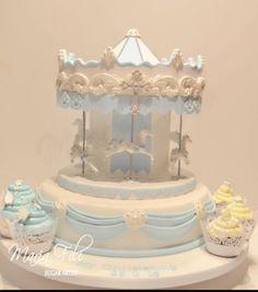 Carousel Christening cake