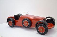 Vintage Wood Red Toy Car