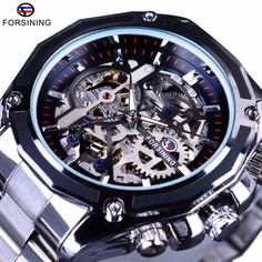 Forsining Mechanical Steampunk Fashion Male Wristwatch Dress Men Watch Top Brand Luxury Stainless Steel Automatic Skeleton Watch #Affiliate
