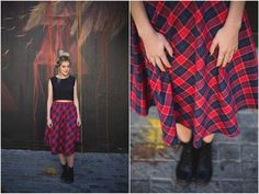 Red Check 3/4 Skirt