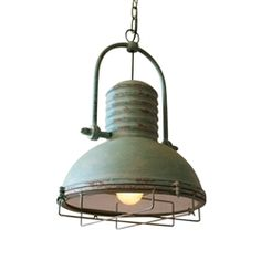 Add some retro personality along a casual kitchen island or a bar. This antiqued pendant with a green patina appears as though it has weathered the test of time. Accommodates a 60 Watt incandescent bulb. Recommend LED bulb for brighter light.