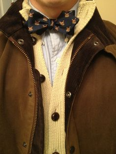 Fox bow tie  - looks great with the sweater!