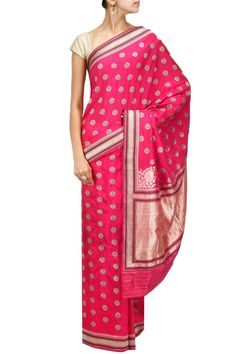 Pink script motifs revival sari by TAJ KHAZANA. Shop now at: http://www.perniaspopupshop.com/designers-1/taj-khazana #shopnow #perniaspopupshop #taj #khazana #love #beautiful #fashion #sarees #collaboration #magazine #coverstory #amazing #falaknumapalace #style