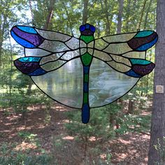 Stained glass suncatcher Dragonfly window hanging Stained-glass home decor Glass window pendant Dragonfly Stained Glass, Hanging Stained Glass, Stained Glass Angel, Custom Stained Glass, Stained Glass Patterns, Stained Glass Windows, Dragonfly Art, Glass Butterfly, Fused Glass