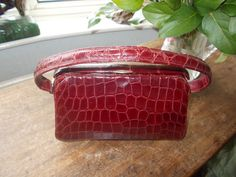 stunning 1940's deep red crocodile handbag