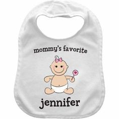 Baby Girl Character Personalized Bib, Multicolor