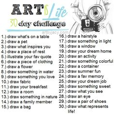 30 day art challenge, or 30 great art journal prompts Doodle Challenge, 30 Day Drawing Challenge, 30 Day Challenge, Challenge Ideas, Sketchbook Challenge, Art Journal Challenge, November Challenge, Sketch A Day, Comics Sketch