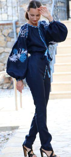 Navy blue vita kin style vyshyvanka linen jumpsuit white blue embroidery size XS-XXL JP001