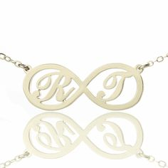 Wholesale Infinity Necklaces with Initial Silver Couple Pendent Nameplate Jewelry BFF Gift Hot