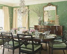 sybaritic spaces: Gorgeous Green Dining Room: de Gournay Wallpaper takes center stage
