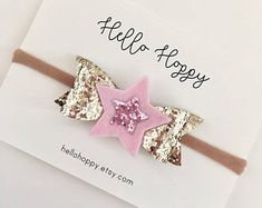 Pink and gold star bow / twinkle twinkle bow, pink and gold birthday bow, first birthday hair bow, star hair bow, pink and gold headband