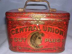 Central Union Cut Plug Smoke and Chew Tobacco Tin Lunch Box by the United States Tobacco Co., Richmond, Va. Hinged lid, front fastener tin with metal handle is done in bright red with gold and black decoration and writting. All writting is readable.In very fine condition. All original and old. Please see the pictures for further details. c1930s-40s $185 on GoAntiques