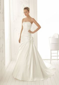 A-line Strapless Chapel Train in Satin Wedding Dress