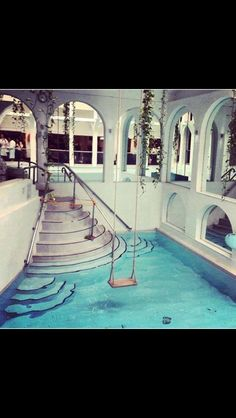 A swing over your indoor pool! I want one a swing over my pool in my dream house Beautiful Homes, Beautiful Places, Beautiful Kids, Beautiful Dream, Beautiful Bedrooms, Absolutely Gorgeous, Amazing Places, Piscina Interior, Dream Pools